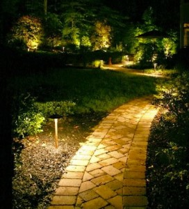 Exterior landscape lighting less is more for Electric walkway lights
