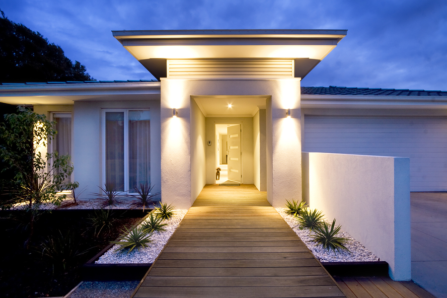 Design guide for your homes outdoor lighting image of lighting up a walkway mozeypictures Image collections